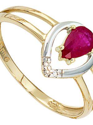 SIGO Damen Ring 585 Gold Gelbgold bicolor 1 Rubin rot 3 Diamanten Brillanten Goldring