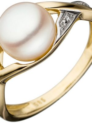 SIGO Damen Ring 585 Gold Gelbgold bicolor 1 Süßwasser Perle Goldring Perlenring