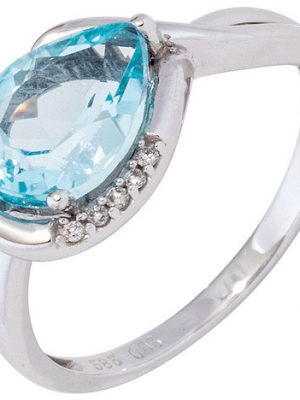SIGO Damen Ring 585 Gold Weißgold 1 Blautopas hellblau blau 5 Diamanten Brillanten