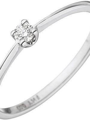 SIGO Damen Ring 585 Gold Weißgold 1 Diamant Brillant 0,07ct. Weißgoldring Diamantring