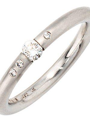 SIGO Damen Ring 950 Platin 4 Diamanten Brillanten 0,20ct. Platinring