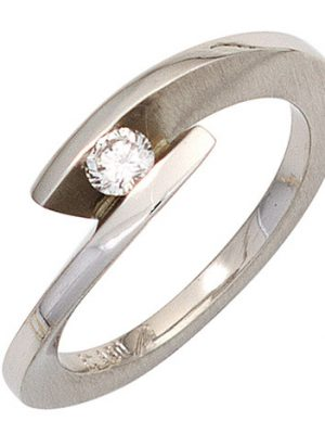SIGO Damen Ring 950 Platin matt 1 Diamant Brillant 0,15ct. Platinring