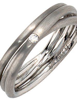 SIGO Damen Ring 950 Platin matt 1 Diamant Brillant Platinring dreireihig mehrreihig