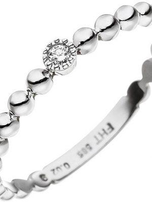 SIGO Damen Ring Kugel 585 Gold Weißgold 1 Diamant Brillant Weißgoldring Kugelring
