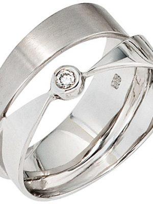 SIGO Damen Ring breit 585 Gold Weißgold matt mattiert 1 Diamant Brillant Weißgoldring