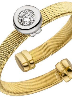 SIGO Damen Ring offen 750 Gelbgold Weißgold bicolor matt 1 Diamant Brillant