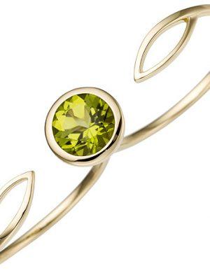SIGO Damen Zweifinger Ring 585 Gold Gelbgold 1 Peridot grün Goldring Zweifingerring