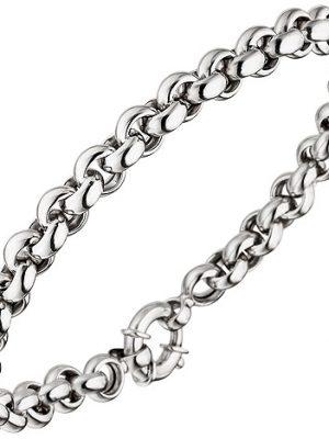 SIGO Erbsarmband 585 Gold Weißgold 21 cm Armband Weißgoldarmband