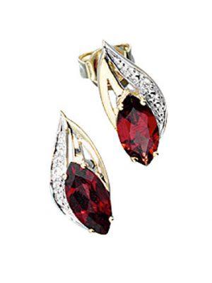 SIGO Ohrstecker 585 Gold Gelbgold 2 Diamanten Brillanten 2 Granate rot Ohrringe