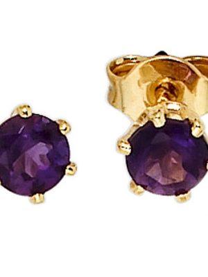 SIGO Ohrstecker rund 585 Gold Gelbgold 2 Amethyste lila violett Ohrringe