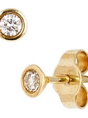 SIGO Ohrstecker rund 585 Gold Gelbgold 2 Diamanten Brillanten 0,10ct. Ohrringe