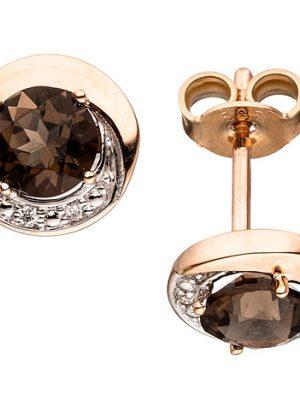 SIGO Ohrstecker rund 585 Gold Rotgold 4 Diamanten Brillanten 2 Rauchquarze braun