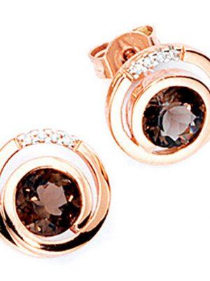SIGO Ohrstecker rund 585 Gold Rotgold 8 Diamanten Brillanten 2 Rauchquarze braun Ohrr