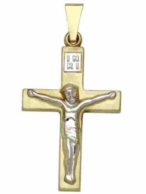 Schneider Basic Anhänger - Kreuz - Gold - K30 weißgold