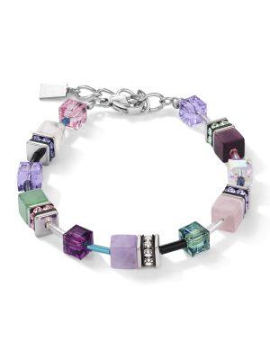 Coeur de Lion 4905/30-0840 Armband GeoCUBE® Swarovski® Kristalle & Edelsteine Flieder-Grün Silber