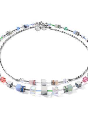 Coeur de Lion 5007/10-1522 Halskette Damen GeoCUBE® Multitask 4-in-1 Summer Multi Pastell Edelstahl 87 cm