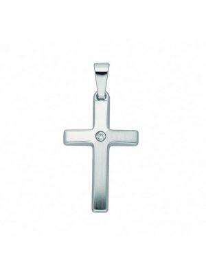 Damen & Herren Goldschmuck 585 Weißgold Kreuz Anhänger mit Brillant 1001 Diamonds silber