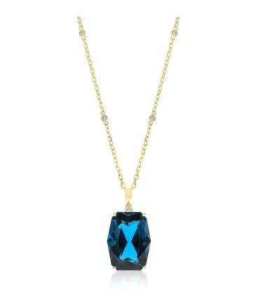 Halskette aus Gold mit blauem Topas
