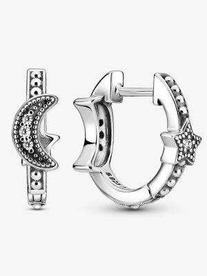 Pandora 299152C01 Ohrringe Creolen Perlenbesetzte Mondsichel & Sterne