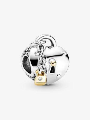 Pandora Shine 799160C01 Charm Damen Herz und Schloss Silber Gold
