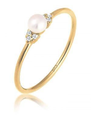 Ring Verlobung Perle Diamant (0.03 Ct.) 585 Gelbgold DIAMORE Gold