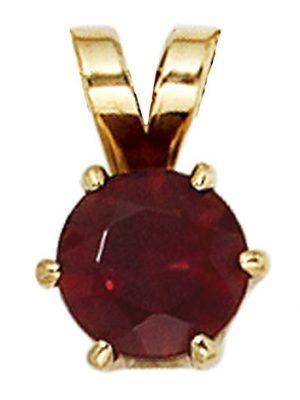SIGO Anhänger 585 Gold Gelbgold 1 Granat rot Goldanhänger