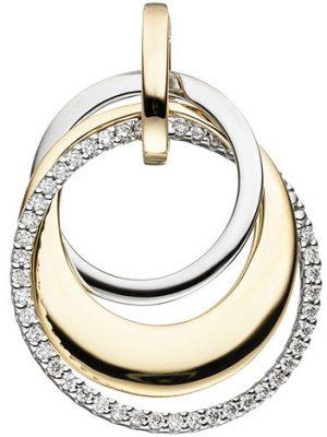 SIGO Anhänger 585 Gold Gelbgold Weißgold bicolor 42 Diamanten Brillanten 0,21ct.