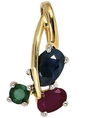 SIGO Anhänger 585 Gold Gelbgold bicolor 1 Rubin 1 blauer Safir 1 Smaragd