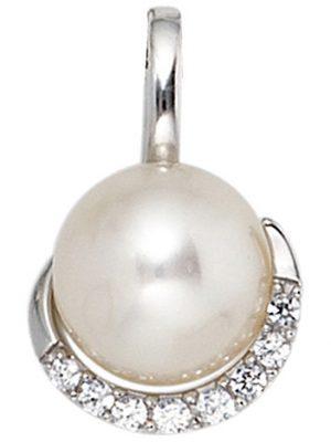 SIGO Anhänger 585 Gold Weißgold 1 Süßwasser Perle 8 Diamanten Perlenanhänger