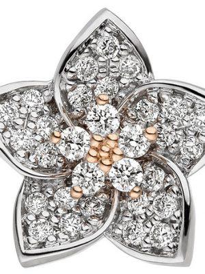 SIGO Anhänger Blume 585 Gold Rotgold Weißgold bicolor 30 Diamanten Brillanten