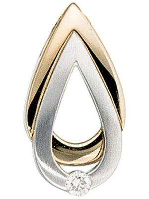 SIGO Anhänger Tropfen 585 Gold Gelbgold Weißgold bicolor matt 1 Diamant Brillant
