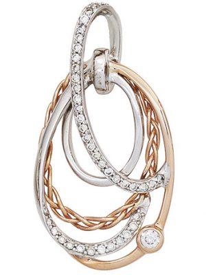 SIGO Anhänger verschlungen 585 Gold Weißgold Rotgold bicolor 41 Diamanten Brillanten