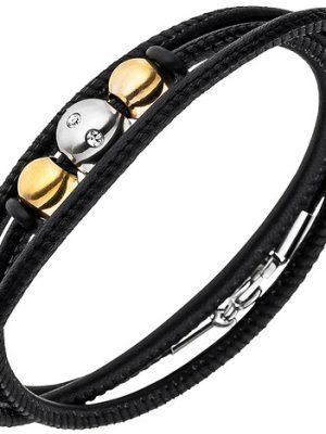 SIGO Armband Nappa-Leder schwarz mit Edelstahl und 8 Zirkonia Lederarmband