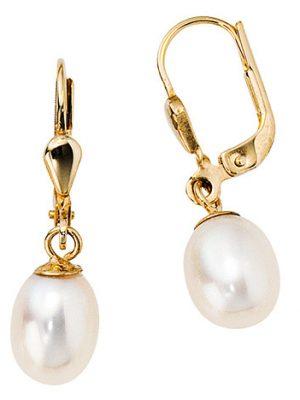 SIGO Boutons 585 Gold Gelbgold 2 Süßwasser Perlen Ohrringe Ohrhänger Perlenohrringe