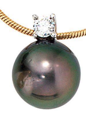 SIGO Collier Kette mit Anhänger 585 Gold 1 Tahiti Perle 1 Diamant Brilllant 42 cm