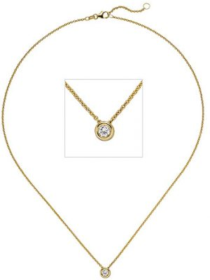 SIGO Collier Kette mit Anhänger 585 Gold Gelbgold 1 Diamant Brillant 0,25 ct. 45 cm