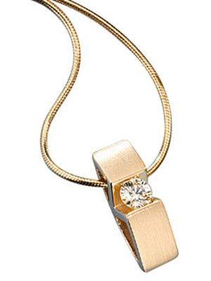 SIGO Collier Kette mit Anhänger 585 Gold Gelbgold 1 Diamant Brillant 42 cm Halskette