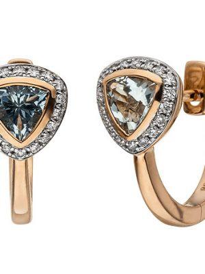 SIGO Creolen 585 Rotgold 36 Diamanten Brillanten 2 Aquamarine hellblau blau