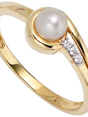 SIGO Damen Ring 333 Gold Gelbgold 1 Süßwasser Perle 3 Zirkonia Goldring Perlenring