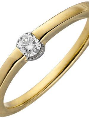 SIGO Damen Ring 585 Gold Gelbgold 1 Diamant Brillant 0,15ct. Diamantring