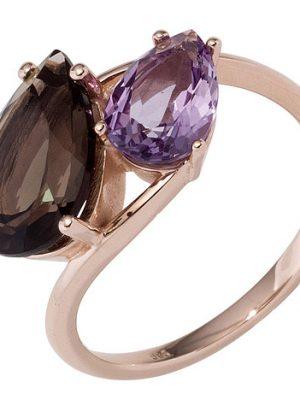 SIGO Damen Ring 585 Gold Rotgold 1 Rauchquarz braun 1 Amethyst lila violett Goldring