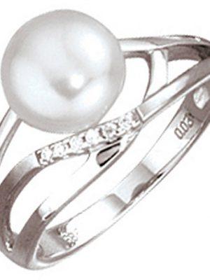 SIGO Damen Ring 585 Gold Weißgold 1 Süßwasser Perle 6 Diamanten Brillanten Goldring