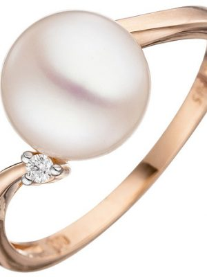 SIGO Damen Ring 585 Rotgold 1 Süßwasser Perle 1 Diamant Brillant Perlenring