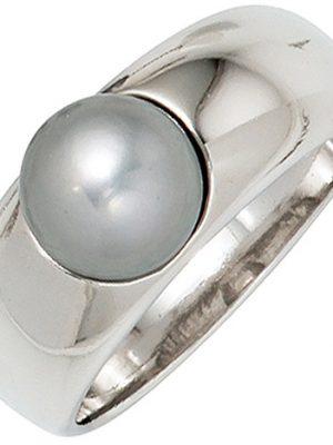 SIGO Damen Ring 925 Sterling Silber rhodiniert 1 graue Süßwasser Perle Perlenring