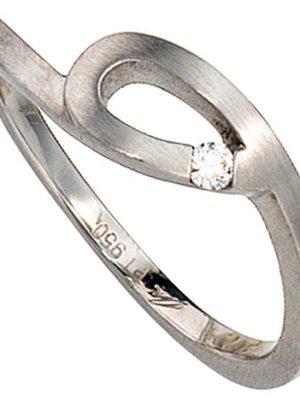 SIGO Damen Ring 950 Platin matt 1 Diamant Brillant 0,04ct. Platinring