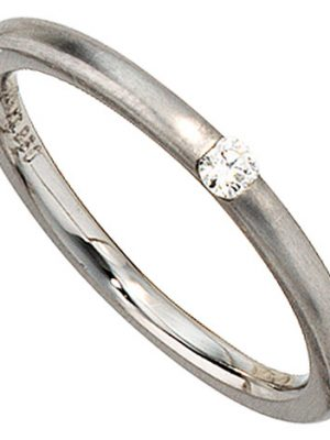 SIGO Damen Ring 950 Platin matt 1 Diamant Brillant 0,06ct. Platinring