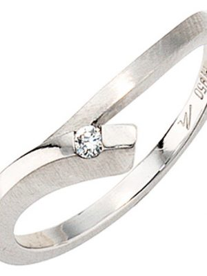 SIGO Damen Ring 950 Platin mattiert 1 Diamant Brillant 0,03ct. Platinring