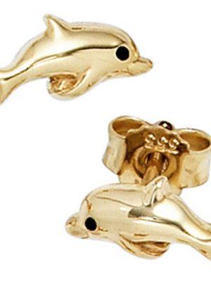 SIGO Kinder Ohrstecker Delfin 333 Gold Gelbgold Ohrringe Kinderohrringe