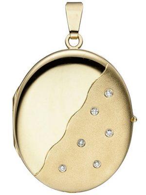SIGO Medaillon oval 585 Gold Gelbgold mattiert 6 Diamanten Anhänger zum Öffnen