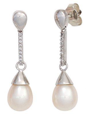 SIGO Ohrhänger 585 Gold Weißgold 2 Süßwasser Perlen 18 Diamanten Ohrringe